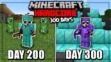 I Survived 300 Days in HARDCORE Minecraft…