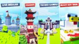 ALL YOUTUBERS BASE IN ONE WORLD   MINECRAFT
