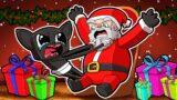 Baby CARTOON CAT Meets SANTA for CHRISTMAS! (Minecraft)