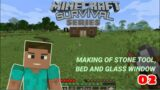 [Hindi] Survival Series #2 || Solo Survival Making stone Tools & Bed || Minecraft INDIA