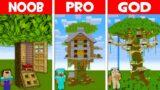 Minecraft NOOB vs PRO vs GOD: TREE HOUSE BUILD CHALLENGE! NOOB FOUND TREE HOUSE! (Animation)