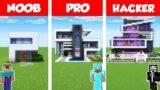 Minecraft NOOB vs PRO vs HACKER: MODERN HOUSE BUILD CHALLENGE in Minecraft / Animation