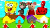Minecraft PE : DO NOT CHOOSE THE WRONG LONG HOUSE! (Spongebob, Talking Tom, Piggy Mousy & Spiderman)