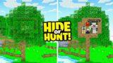 I made a hidden CAMO Minecraft TREE base.. (Hide Or Hunt)