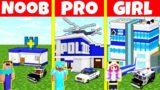 Minecraft Battle: NOOB vs PRO vs GIRL: POLICE STATION BUILD CHALLENGE / Animation