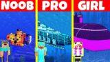 Minecraft Battle: NOOB vs PRO vs GIRL: SUBMARINE HOUSE BUILD CHALLENGE / Animation