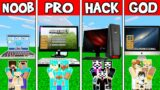 Minecraft: FAMILY COMPUTER HOUSE BUILD CHALLENGE – NOOB vs PRO vs HACKER vs GOD in Minecraft