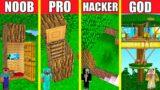 Minecraft Battle: INSIDE TREE BASE HOUSE BUILD CHALLENGE – NOOB vs PRO vs HACKER vs GOD / Animation