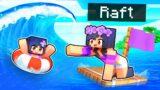 Teaching Baby To RIDE A TSUNAMI In Minecraft Raft!