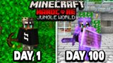 I Survived 100 Days in a JUNGLE WORLD in Minecraft Hardcore…