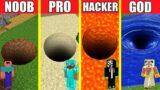 Minecraft Battle: TUNNEL HOUSE BUILD CHALLENGE – NOOB vs PRO vs HACKER vs GOD / Animation PIT HOLE