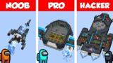 Minecraft NOOB vs PRO vs HACKER: AMONG US SHIP HOUSE BUILD CHALLENGE in Minecraft / Animation