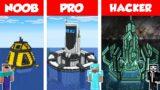 Minecraft NOOB vs PRO vs HACKER:  WATER BASE BUILD CHALLENGE in Minecraft – HOUSE ON WATER
