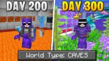 I Survived 300 Days Of Hardcore Minecraft, In A Cave Only World