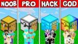Minecraft: FAMILY SECRET CHEST HOUSE BUILD CHALLENGE – NOOB vs PRO vs HACKER vs GOD in Minecraft