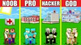 Minecraft Battle: HOSPITAL HOUSE BUILD CHALLENGE – NOOB vs PRO vs HACKER vs GOD / Animation CLINIC