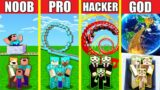 Minecraft Battle: ROLLERCOASTER BUILD CHALLENGE – NOOB vs PRO vs HACKER vs GOD / Animation HOUSE