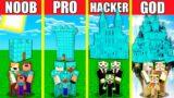 Minecraft Battle: DIAMOND CASTLE HOUSE BUILD CHALLENGE – NOOB vs PRO vs HACKER vs GOD / Animation