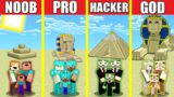 Minecraft Battle: SAND DESERT HOUSE BUILD CHALLENGE – NOOB vs PRO vs HACKER vs GOD Animation PYRAMID