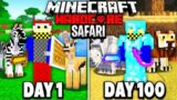 I Survived 100 Days in an AFRICAN SAFARI in Hardcore Minecraft…