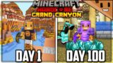 I Survived 100 Days in the GRAND CANYON in Hardcore Minecraft…