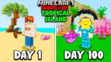 I Survived 100 Days on a TROPICAL ISLAND in Hardcore Minecraft…