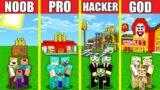Minecraft Battle: MCDONALDS HOUSE BUILD CHALLENGE – NOOB vs PRO vs HACKER vs GOD Animation FAST FOOD