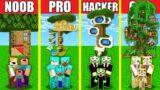 Minecraft Battle: TREE HOUSE BUILD CHALLENGE – NOOB vs PRO vs HACKER vs GOD / Animation WOOD OAK