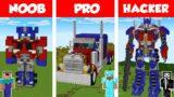 Minecraft NOOB vs PRO vs HACKER: TRANSFORMERS OPTIMUS STATUE HOUSE BUILD CHALLENGE / Animation