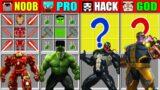 Minecraft NOOB vs PRO vs HACKER vs GOD IRONMAN HULK VENOM THANOS CRAFTING SCP CHALLENGE Animation