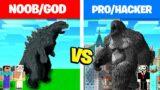 NOOB & GOD vs PRO & HACKER : GODZILLA vs KING KONG MONSTERS BUILD BATTLE IN MINECRAFT! – Animation