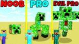 Minecraft Battle: NOOB vs PRO vs EVIL PRO: CREEPER MUTANT BUILD CHALLENGE / Animation