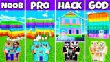 Minecraft Battle: POP IT HOUSE BUILD CHALLENGE – NOOB vs PRO vs HACKER vs GOD in Minecraft