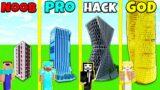 Minecraft Battle: SKYSCRAPER BUILD CHALLENGE – NOOB vs PRO vs HACKER vs GOD / Animation