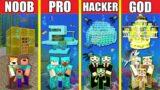 Minecraft Battle: UNDERWATER HOUSE BUILD CHALLENGE – NOOB vs PRO vs HACKER vs GOD / Animation WATER