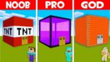 Minecraft NOOB vs PRO vs GOD: SECRET BLOCK HOUSE! PORTAL BASE vs LAVA HOUSE! (Animation)