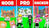 Minecraft NOOB vs PRO vs HACKER *PRISON* BUILDING CHALLENGE! (LANKYBOX, CARTOON CAT, LADYBUG & MORE)
