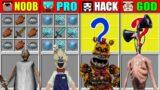 Minecraft NOOB vs PRO vs HACKER vs GOD Granny Freddy Siren Head CRAFTING SCP CHALLENGE Animation