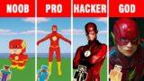 Minecraft NOOB vs PRO vs HACKER vs GOD: THE FLASH BUILD CHALLENGE in Minecraft Animation