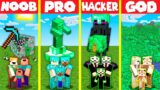 Minecraft Battle: EMERALD BLOCK HOUSE BUILD CHALLENGE – NOOB vs PRO vs HACKER vs GOD / Animation