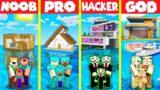 Minecraft Battle: MODERN HOUSE ON WATER BUILD CHALLENGE – NOOB vs PRO vs HACKER vs GOD / Animation