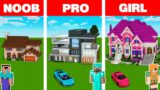 Minecraft NOOB vs PRO vs GIRL: MODERN GIRL HOUSE BUILD CHALLENGE in Minecraft Animation