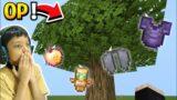 Minecraft but trees drop OP items