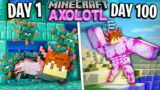 I Survived 100 Days as an AXOLOTL in Minecraft