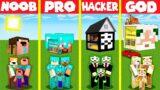 Minecraft Battle: INSIDE HEAD BASE HOUSE BUILD CHALLENGE – NOOB vs PRO vs HACKER vs GOD / Animation