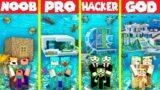 Minecraft Battle: UNDERWATER BASE HOUSE BUILD CHALLENGE – NOOB vs PRO vs HACKER vs GOD / Animation