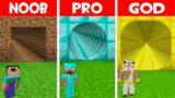 SECRET TUNNEL BASE in Minecraft! NOOB FOUND LONGEST TUNNEL in NOOB vs PRO vs GOD (Animation)